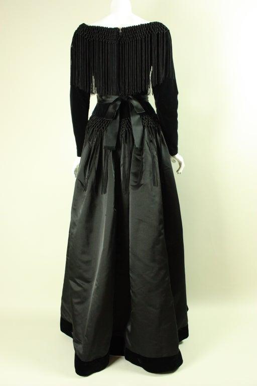 Black Silk and Velvet Fringed Gown 6