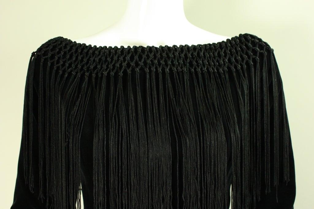 Black Silk and Velvet Fringed Gown 7