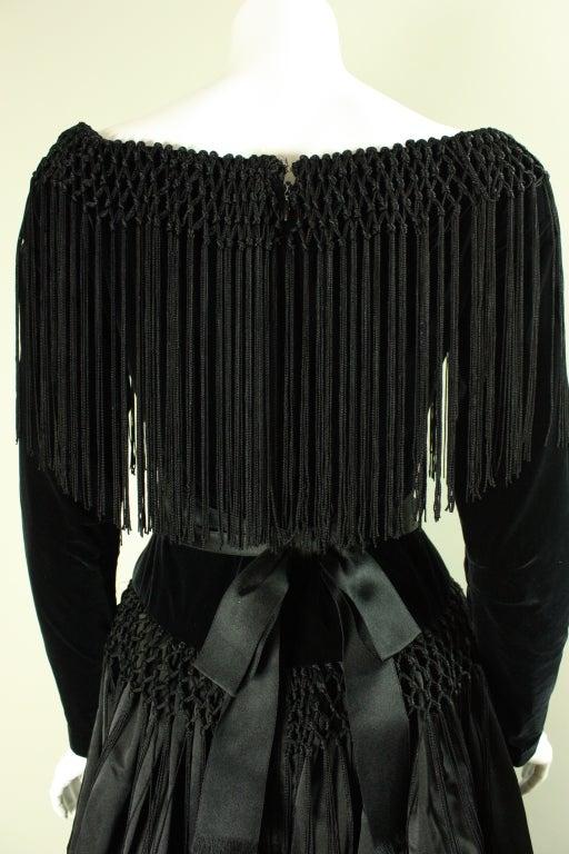 Black Silk and Velvet Fringed Gown 8