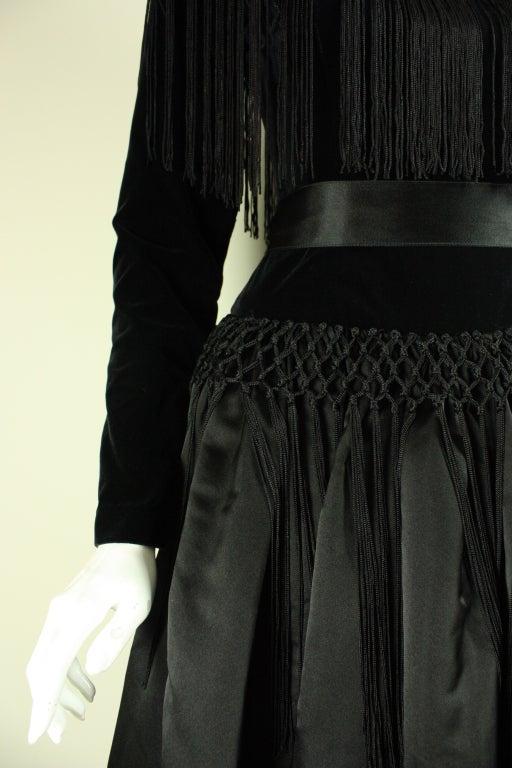 Black Silk and Velvet Fringed Gown 9