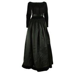 Black Silk and Velvet Fringed Gown