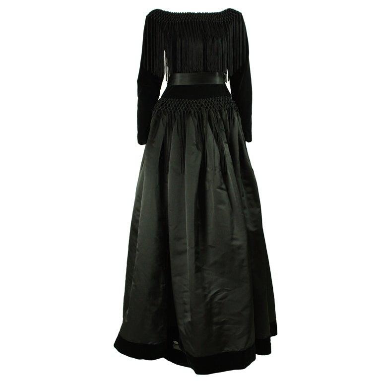 Black Silk and Velvet Fringed Gown 1