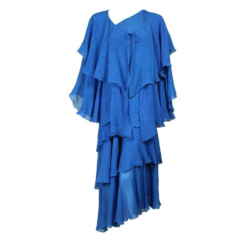 Blue Silk Chiffon Tiered Dress