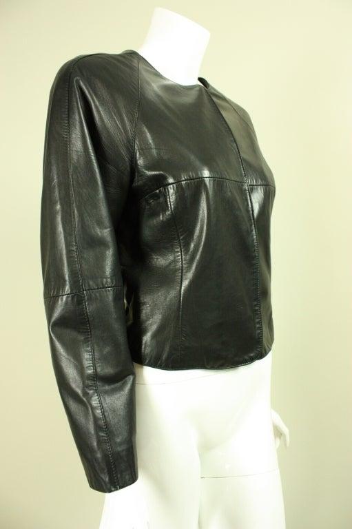 Gianfranco Ferre Leather Jacket with Slashed Back 2