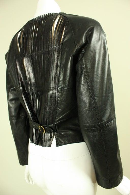 Gianfranco Ferre Leather Jacket with Slashed Back 3