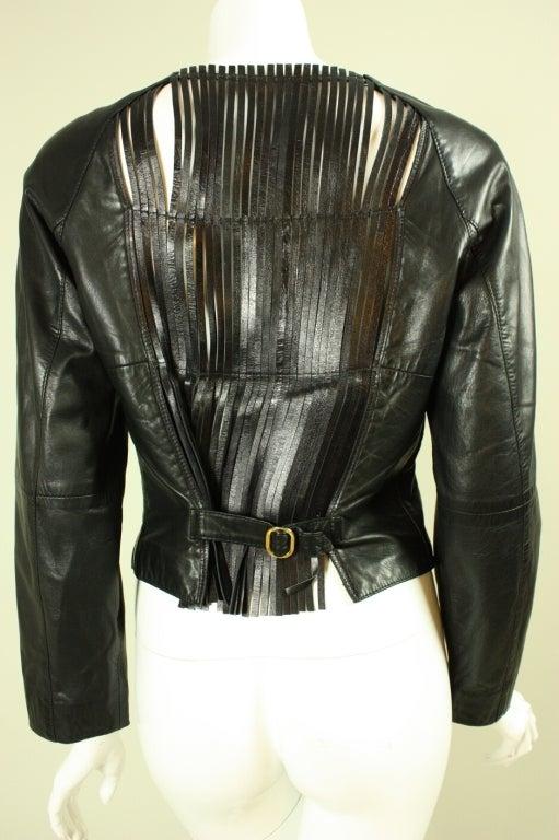 Gianfranco Ferre Leather Jacket with Slashed Back 4