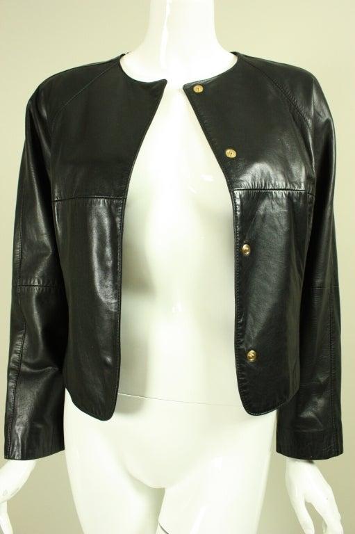 Gianfranco Ferre Leather Jacket with Slashed Back 7