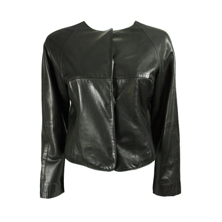 Gianfranco Ferre Leather Jacket with Slashed Back 1