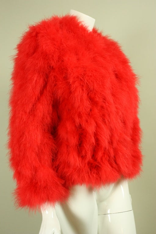 1970's Red Marabou Feather Jacket 2