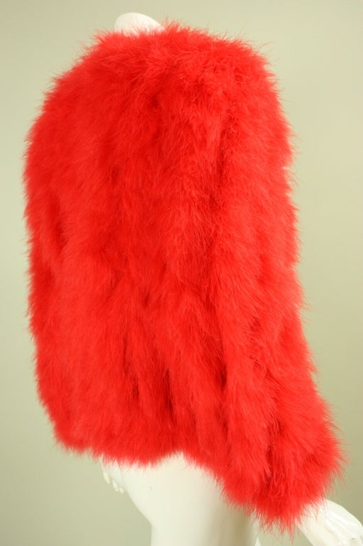 1970's Red Marabou Feather Jacket 3