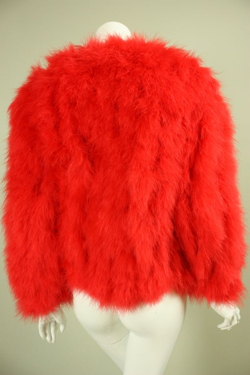 1970's Red Marabou Feather Jacket 4