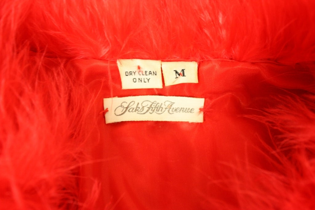 1970's Red Marabou Feather Jacket 6