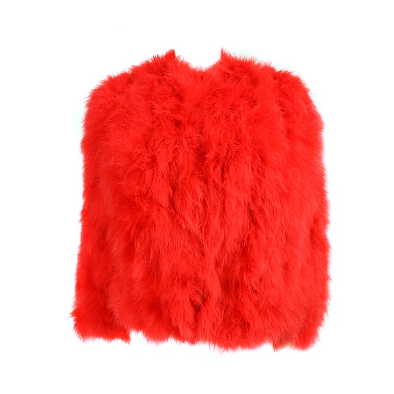 1970's Red Marabou Feather Jacket 1