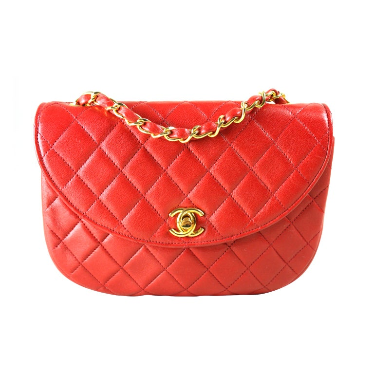 Chanel Quilted Red Leather Handbag For Sale