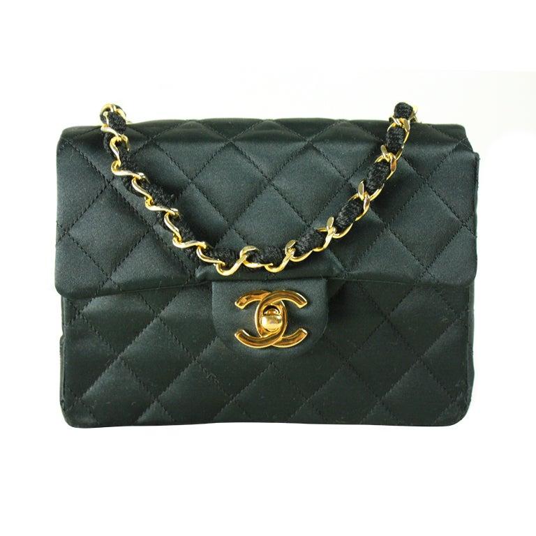chanel black satin evening bag at 1stdibs