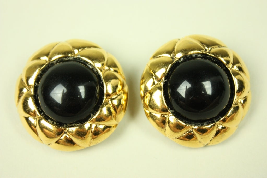 Chanel Quilted Gold-Toned Earrings 2