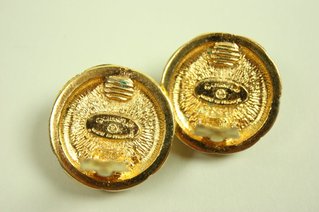 Chanel Quilted Gold-Toned Earrings 4