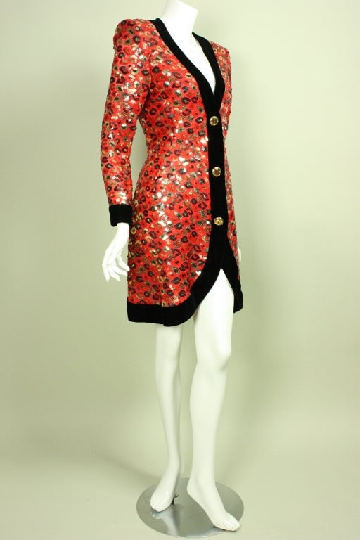 Red 1980's Givenchy Sequined Cocktail Dress For Sale