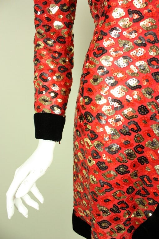 1980's Givenchy Sequined Cocktail Dress For Sale 2