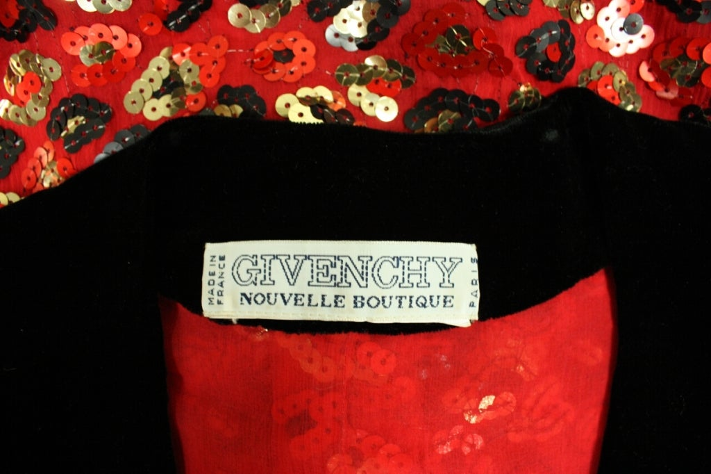 1980's Givenchy Sequined Cocktail Dress For Sale 3