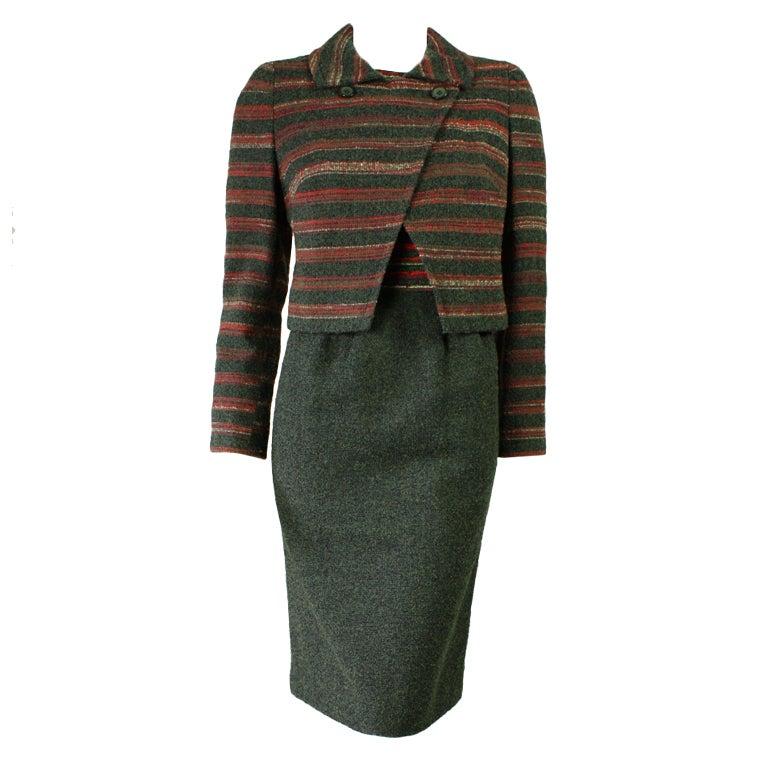 Hardy Amies Wool Boucle Dress and Skirt Ensemble