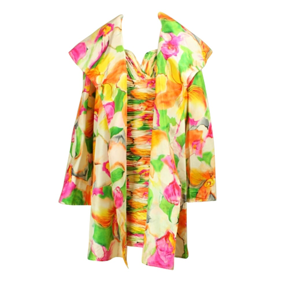 Vicky Tiel Floral Dress and Coat Ensemble For Sale