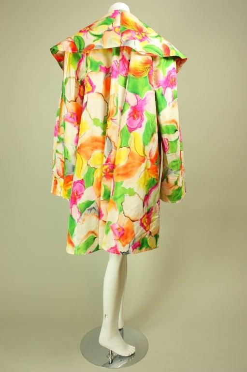Beige Vicky Tiel Floral Dress and Coat Ensemble For Sale