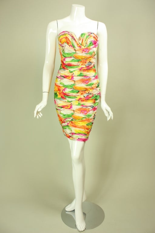 Vicky Tiel Floral Dress and Coat Ensemble In Excellent Condition For Sale In Los Angeles, CA