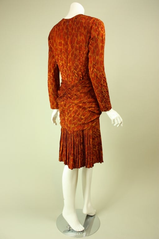 Red Bill Blass Leopard Print Silk Dress For Sale