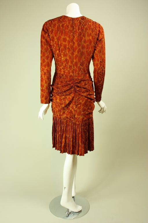 Bill Blass Leopard Print Silk Dress In Excellent Condition For Sale In Los Angeles, CA