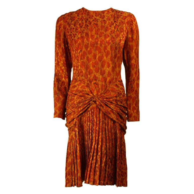Bill Blass Leopard Print Silk Dress For Sale