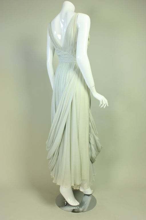 1950's Sara Fredericks Silk Chiffon Gown In Good Condition For Sale In Los Angeles, CA