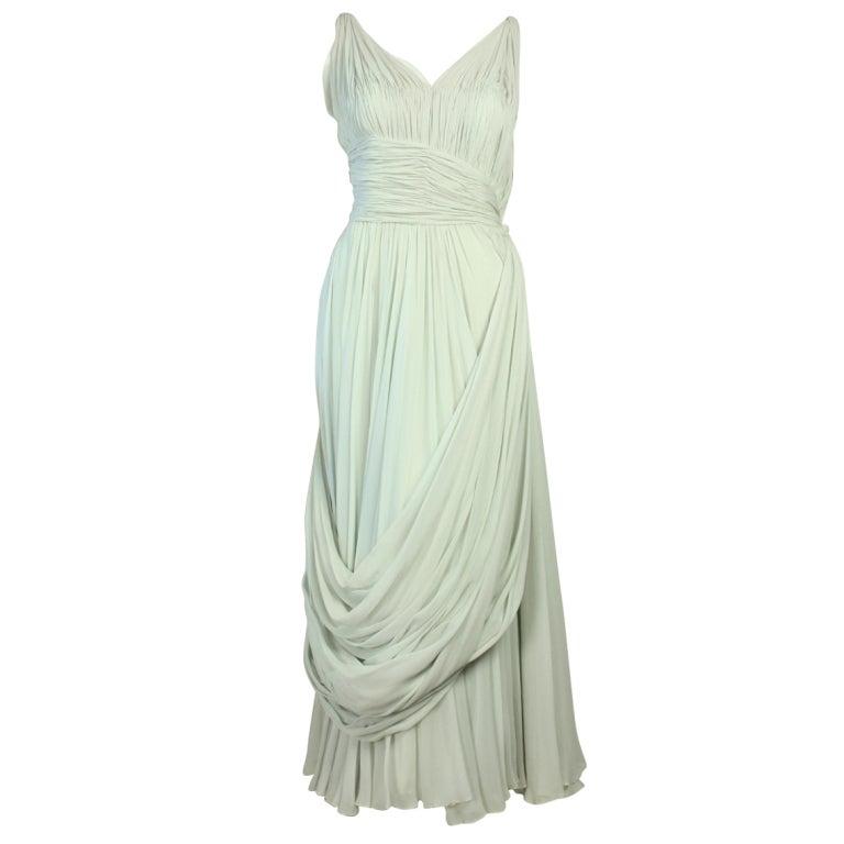 1950's Sara Fredericks Silk Chiffon Gown 1