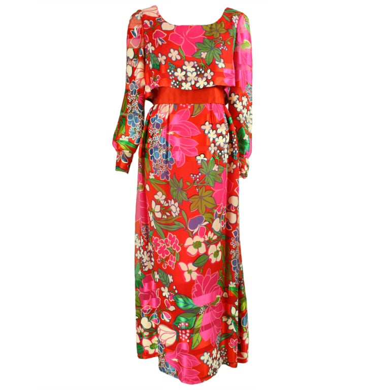 Richilene Silk Chiffon Floral Gown, 1970s