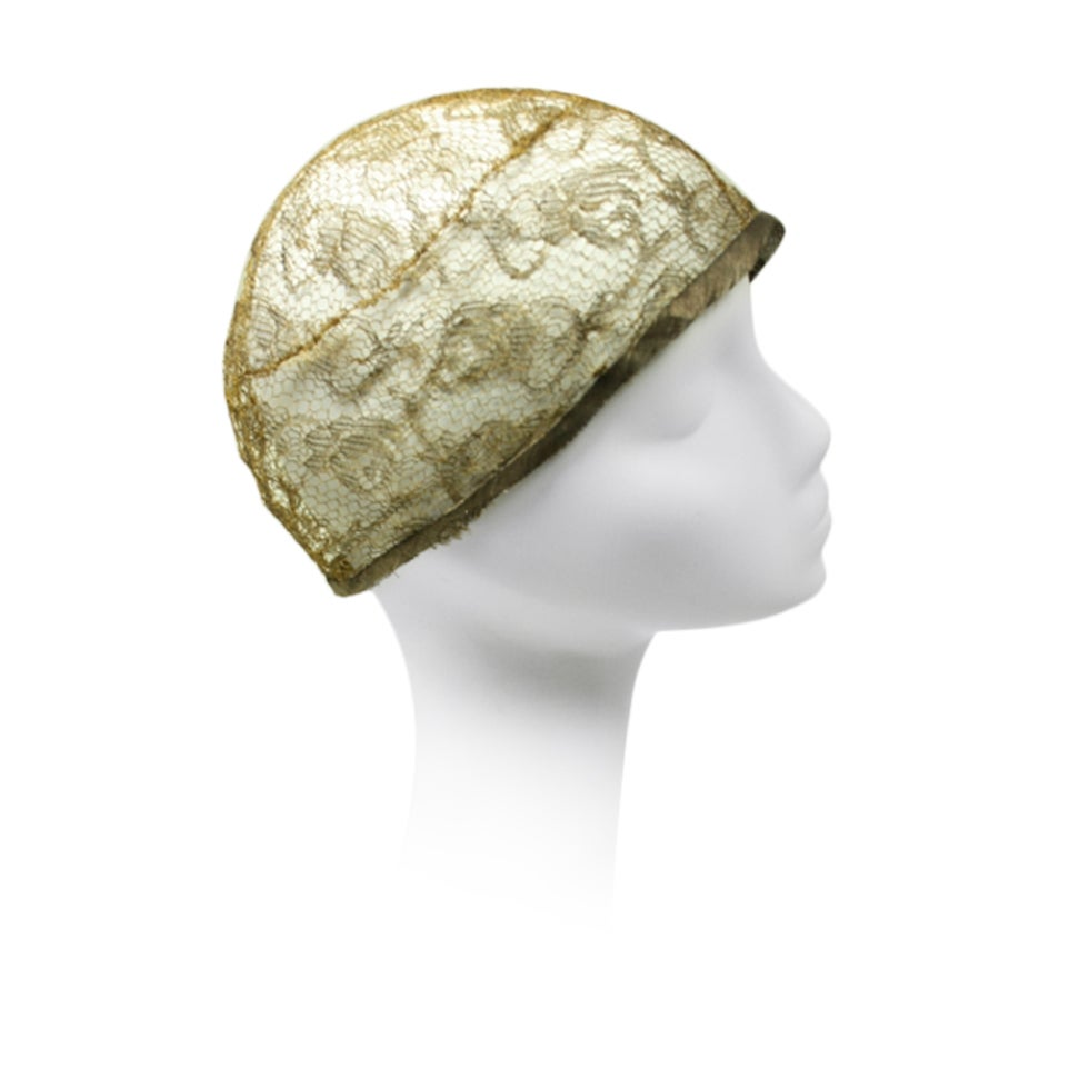 1920's Metallic Lace Skull Cap