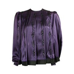 1980's Galanos Purple Silk Beaded Blouse