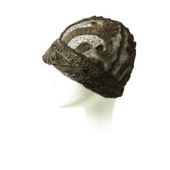 1920's Gold Bullion & Lace Cloche