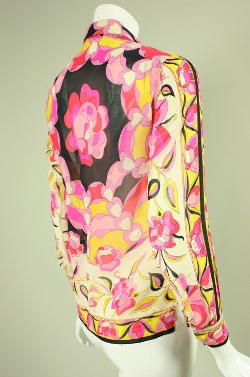 Pucci Printed Silk Blouse, 1960s  In Excellent Condition For Sale In Los Angeles, CA