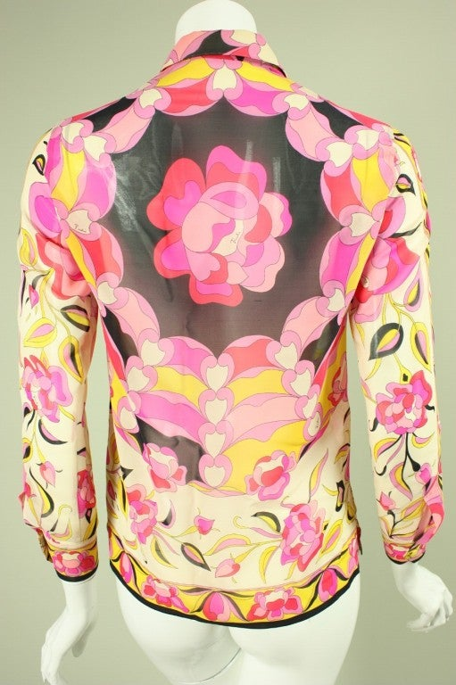 Women's Pucci Printed Silk Blouse, 1960s  For Sale