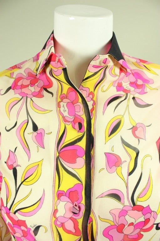 Pucci Printed Silk Blouse, 1960s  For Sale 1