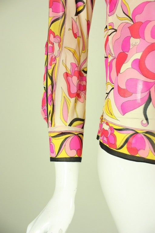 Pucci Printed Silk Blouse, 1960s  For Sale 2