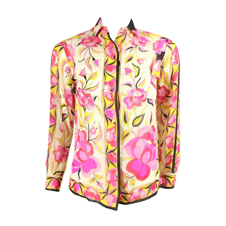 Pucci Printed Silk Blouse, 1960s  For Sale
