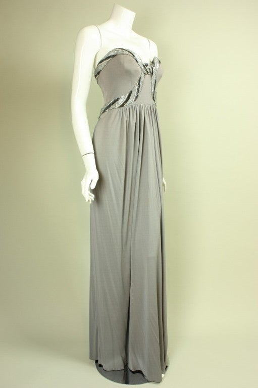 Bob Mackie Gray Jersey Gown 3
