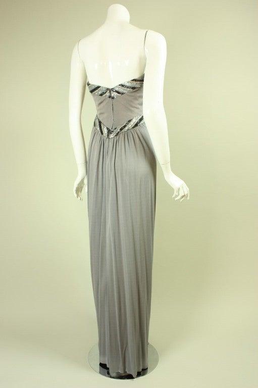 Bob Mackie Gray Jersey Gown 4