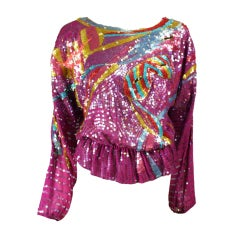 1980's Neil Bieff Sequined Blouse