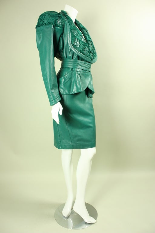 Jean Claude Jitrois Green Leather Suit with Broadtail Collar 3