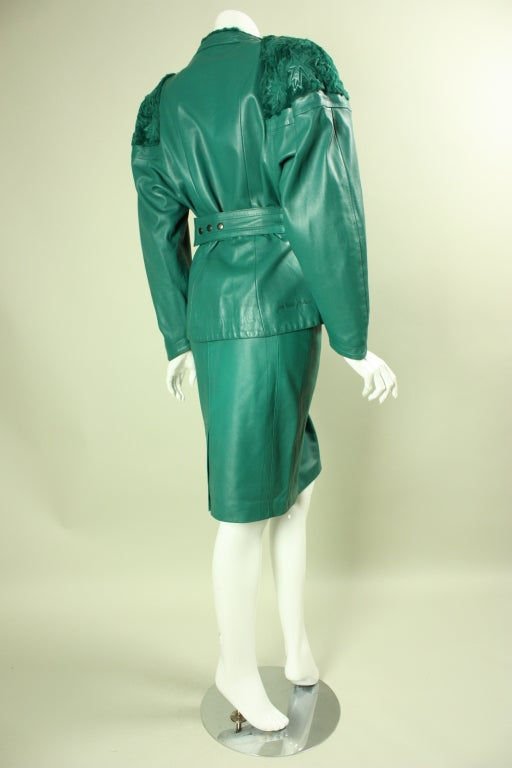 Jean Claude Jitrois Green Leather Suit with Broadtail Collar In Excellent Condition For Sale In Los Angeles, CA