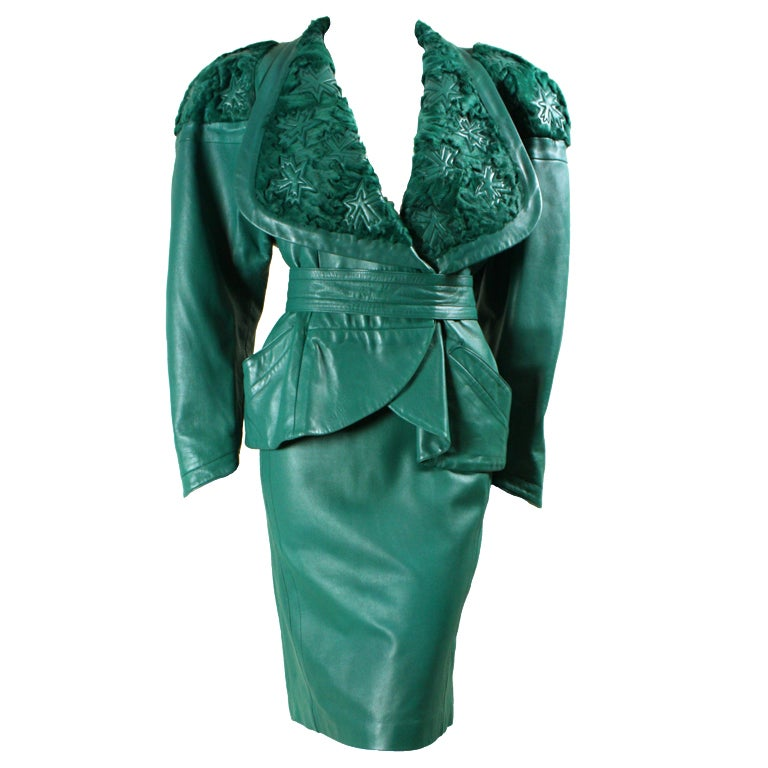 Jean Claude Jitrois Green Leather Suit with Broadtail Collar For Sale