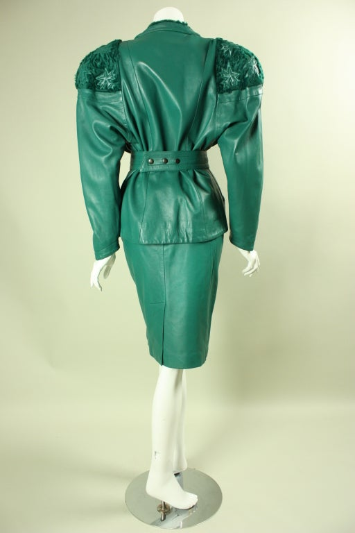 Women's Jean Claude Jitrois Green Leather Suit with Broadtail Collar For Sale