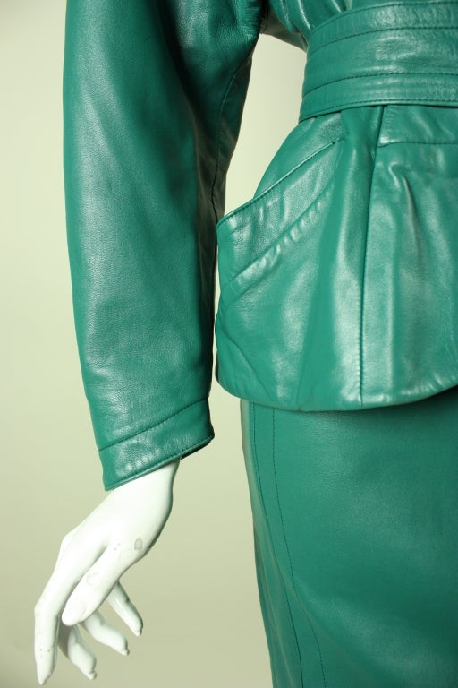 Jean Claude Jitrois Green Leather Suit with Broadtail Collar For Sale 2